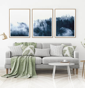 Misty Indigo Forest Landscape Set of 3 Digital Scenery