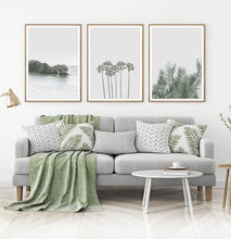 Load image into Gallery viewer, Palm Tree Wall Art Set of 3 Pastel Coastal Prints