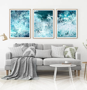 Ocean Waves 3 Piece Wall Art with Splashing Coastal Water