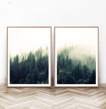 Load image into Gallery viewer, Mountain Forest Greenery Wall Art Set of 2 Prints