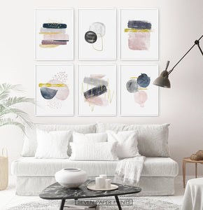Abstract Minimalist Watercolor Set of 6 Prints