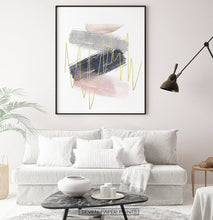 Load image into Gallery viewer, Abstract Brush Print with Gold, Gray, Pink, and Blue Colors