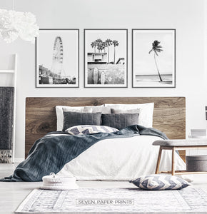 Black and White Coastal Set of 3 Prints