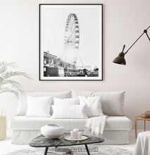 Load image into Gallery viewer, Black and White Ferris Wheel Print for Living Room
