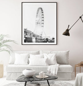Black and White Ferris Wheel Print for Living Room