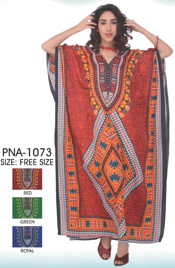 PNA-1073 - LADIES PRINTED MICRO KAFTAN WITH GLITTERS AND DRAW STRING BELOW BUST LEVEL IN LONG LENGTH. - One Size (12-PCS PRE-PACK $6 Each)
