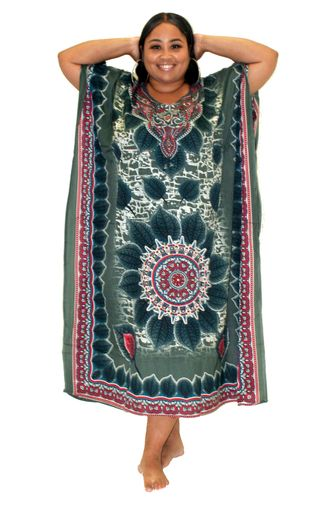 PNA-1288 - Women's Colorful Print Long Kaftan Dress - One Size (12-PCS PRE-PACK-$6 Each)