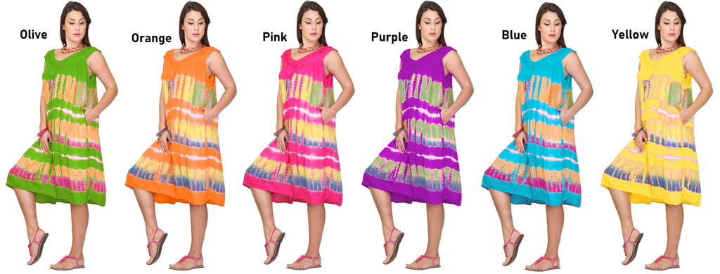 1305-M6 - Women's Tie Dye Sleeveless Midi Dress with 2 Side Pockets - (6-PCS PRE-PACK) ($6 Each)