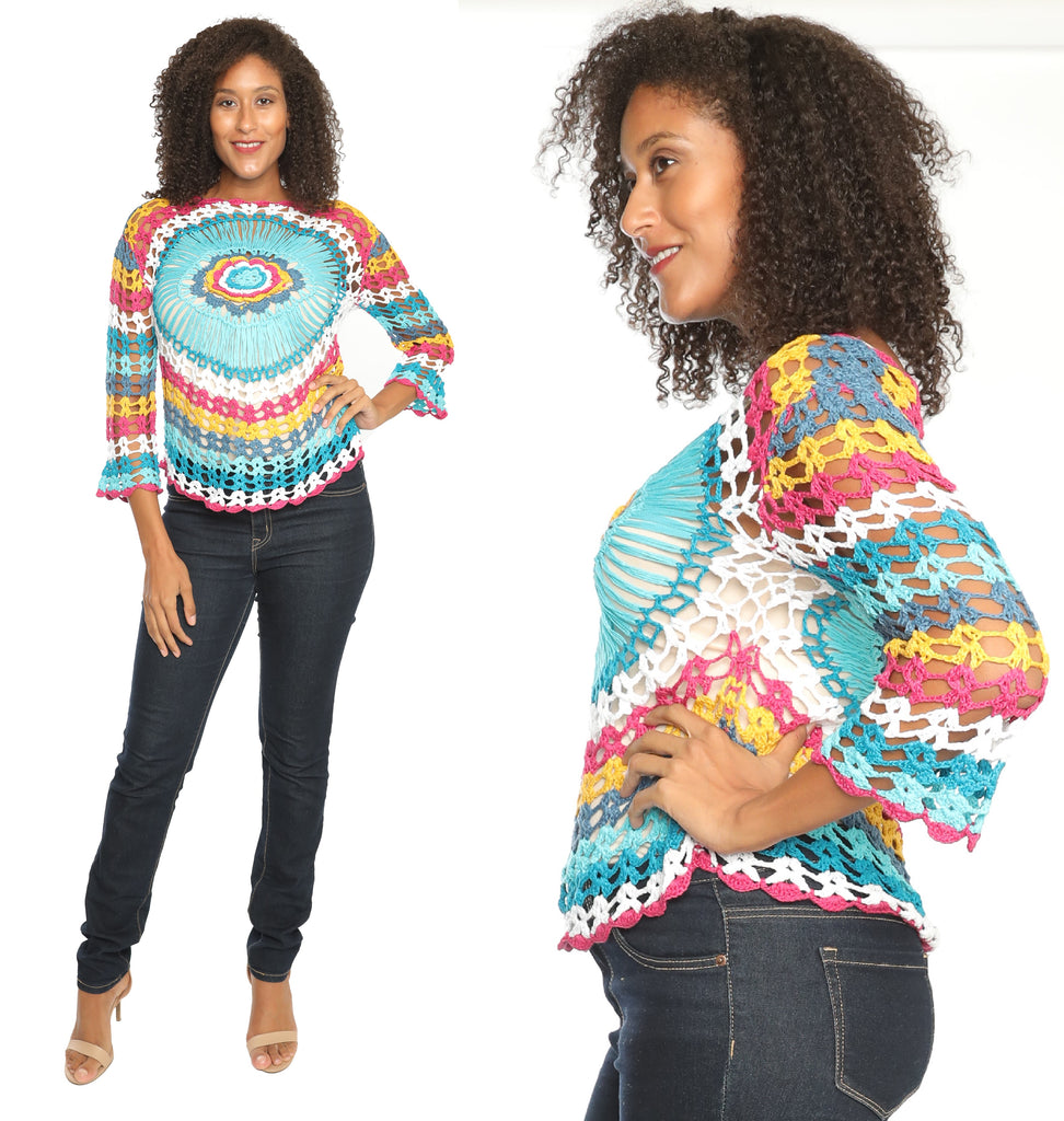 CHH-14171 - 100% Cotton Open-Knit Colorful Long Sleeves Crochet Blouse - One Size (6-PCS PRE-PACK)