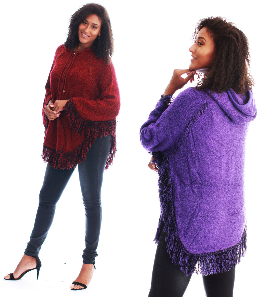 1572- Zip-Up Hooded Poncho Sweater with Fringe Trim - Assorted Colors (6-PCS PRE-PACK) ($18.00 Each)