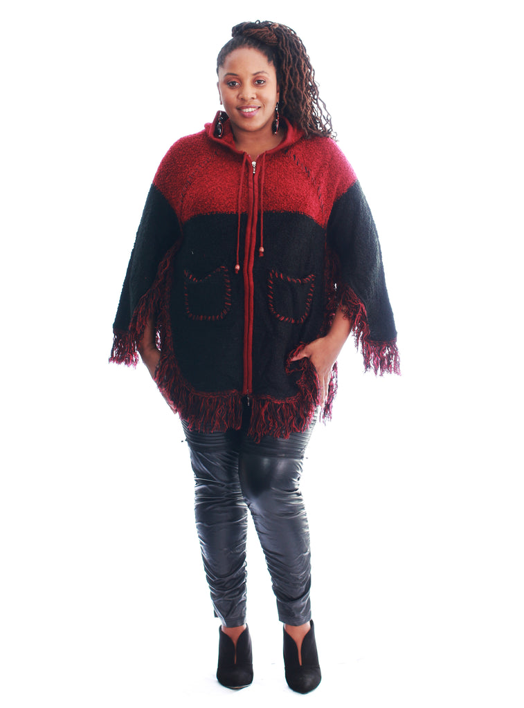 1574- Poncho-Style Hooded Sweater with Fringe Trim - Assorted Colors (6-PCS PRE-PACK)