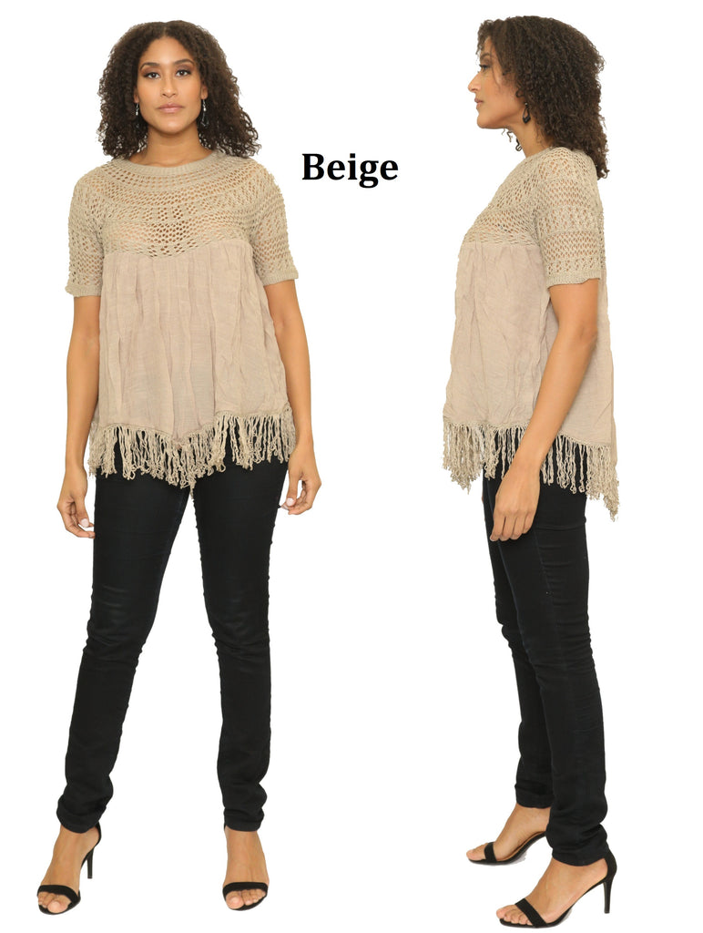 16014- 100% Cotton Crochet Accent Top with Fringe Hem (6-PCS PRE-PACK)