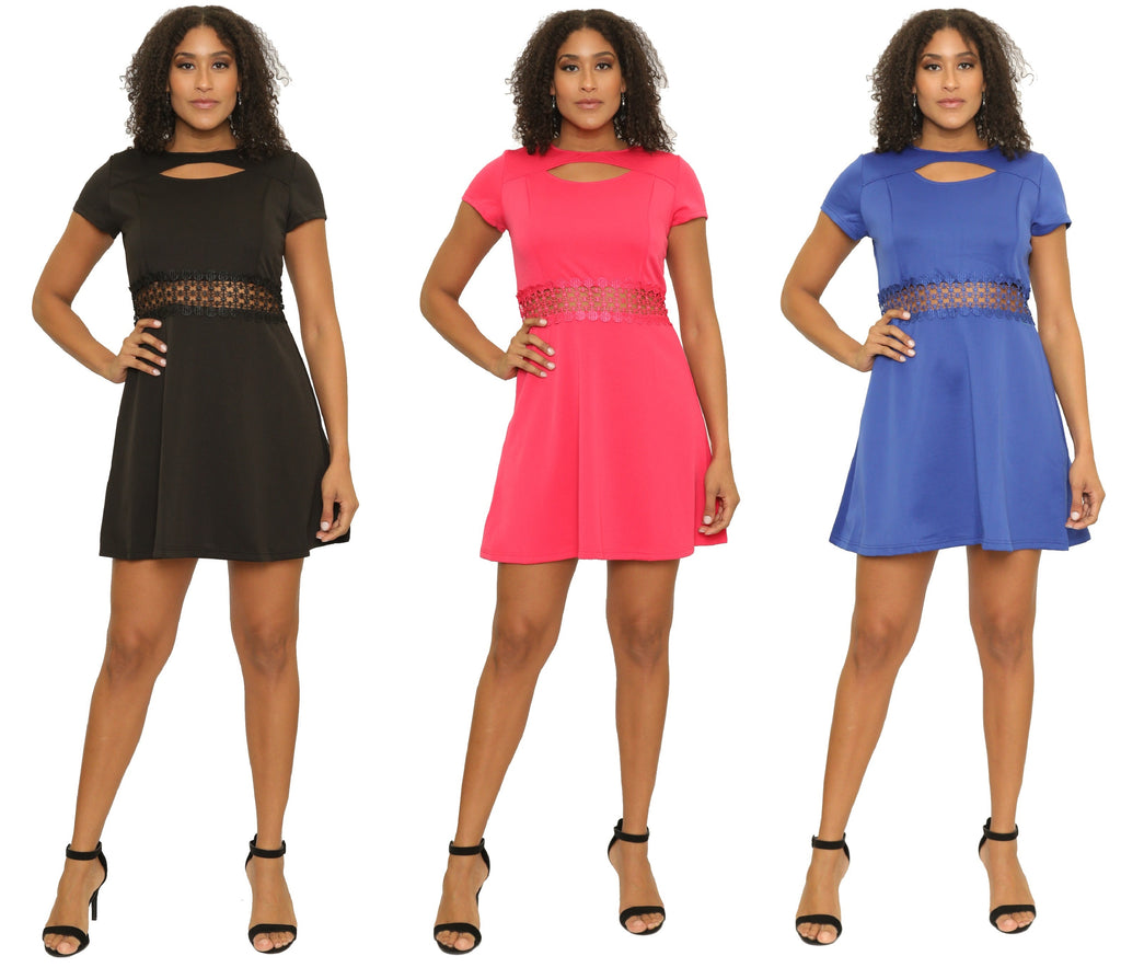 16033- Short-Sleeve Scuba Dress with Peekaboo Waist (6-PCS PRE-PACK) ON SALE - $5 Each