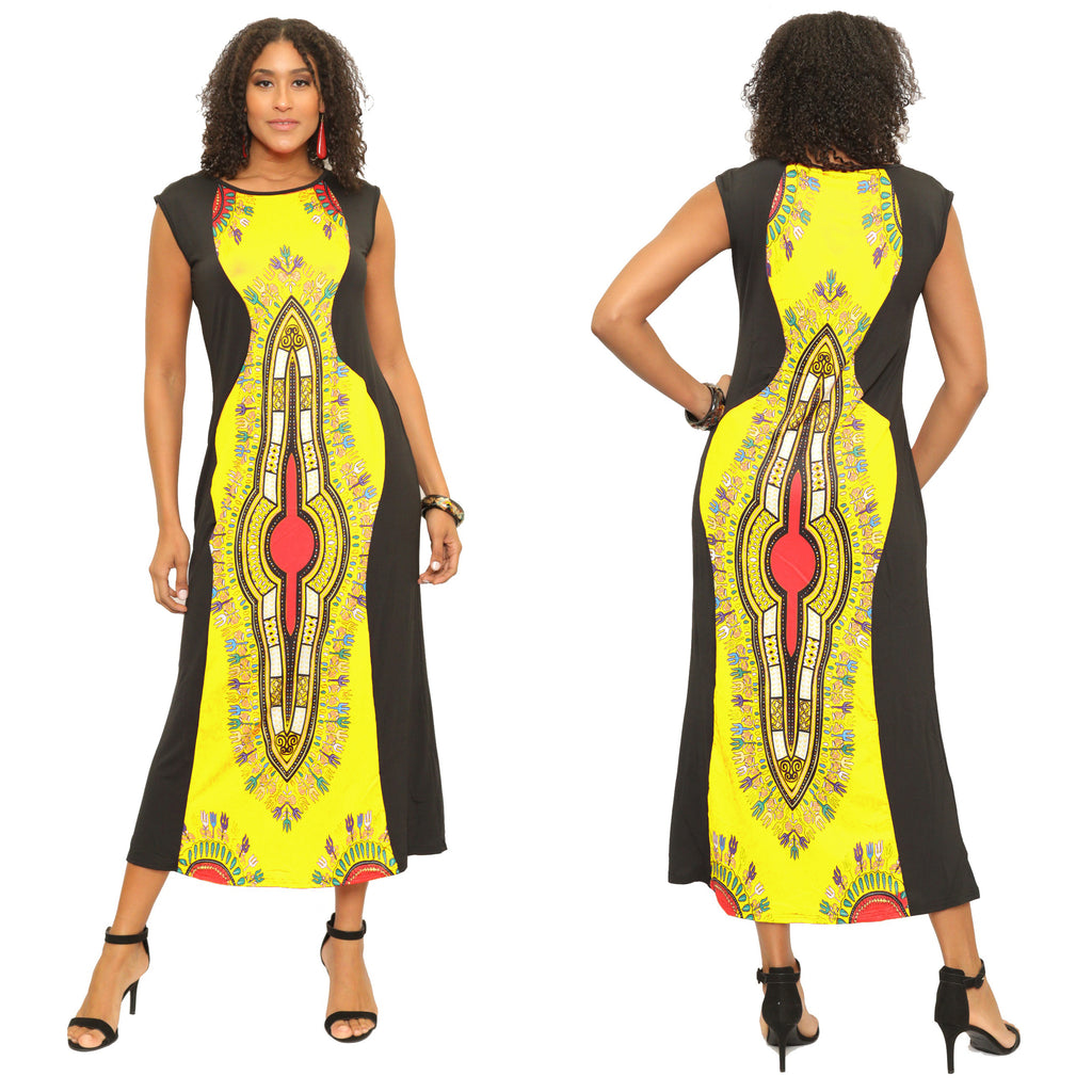 16064- Women's Plus Size Long Ankle Length Dashiki African Dress -One Size (6-PCS PRE-PACK)