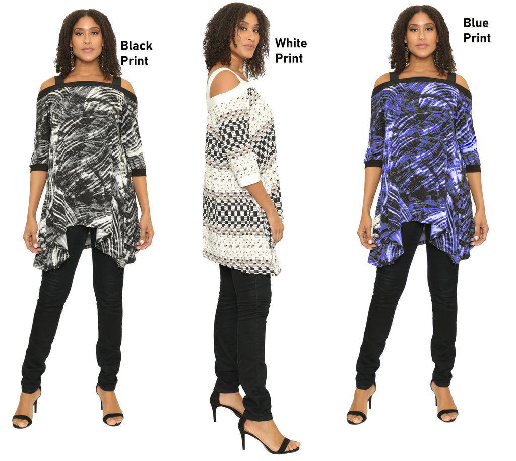 17052- Printed Lightweight Tie-Neck Stretch Tunic Top (6-PCS PRE-PACK)