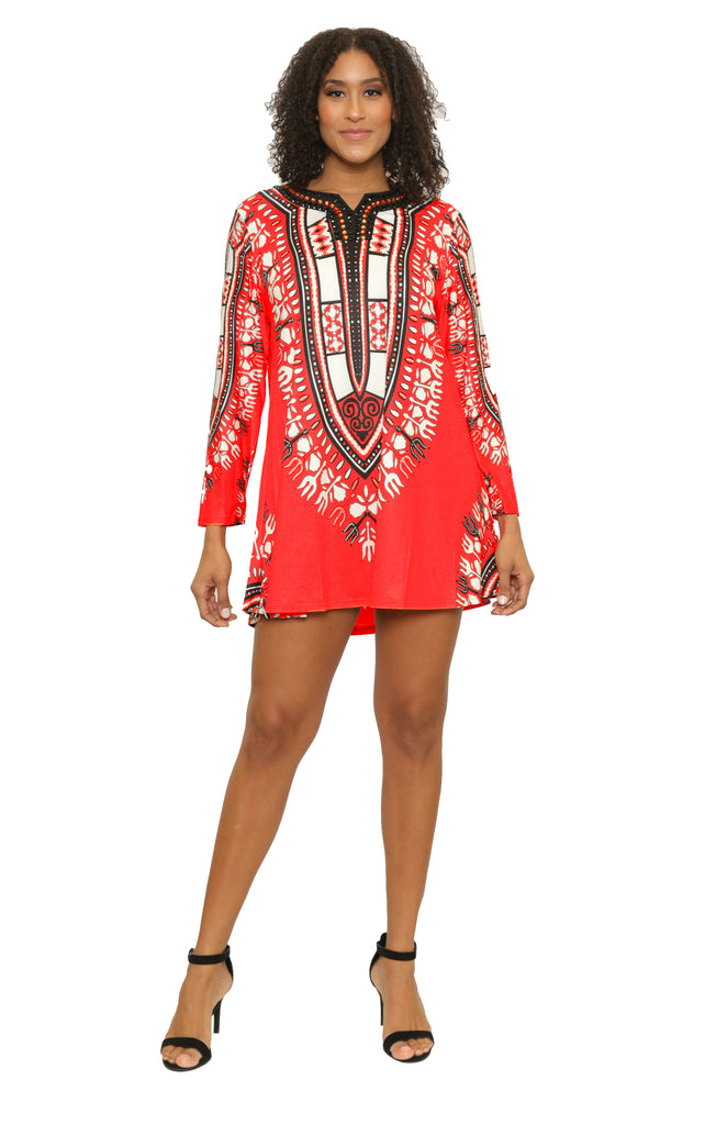 17016- Dashiki Print Short Dress with Bead Work - Assorted Color (6-PCS PRE-PACK)