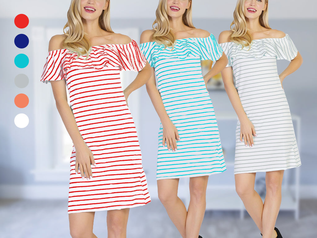 CHH-17019- Off-the-Shoulder Short Striped Scuba Sheath Dress with Ruffle- One Size (6-PCS PRE-PACK)
