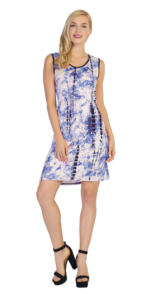 CHH-17023- Lightweight Watercolor Print Sleeveless Short Dress - One Size (6-PCS PRE-PACK)