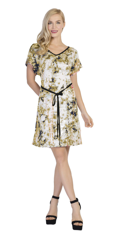 CHH-17024- Lightweight Short-Sleeve Printed Dress with Waist Tie - One Size (6-PCS PRE-PACK)