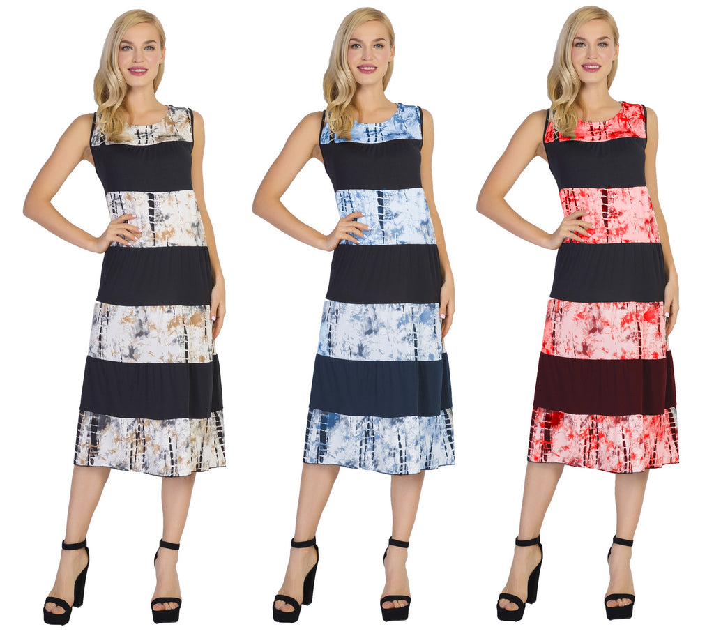 CHH-17025- Lightweight Tie-Dye Print Sleeveless Dress - One Size (6-PCS PRE-PACK)