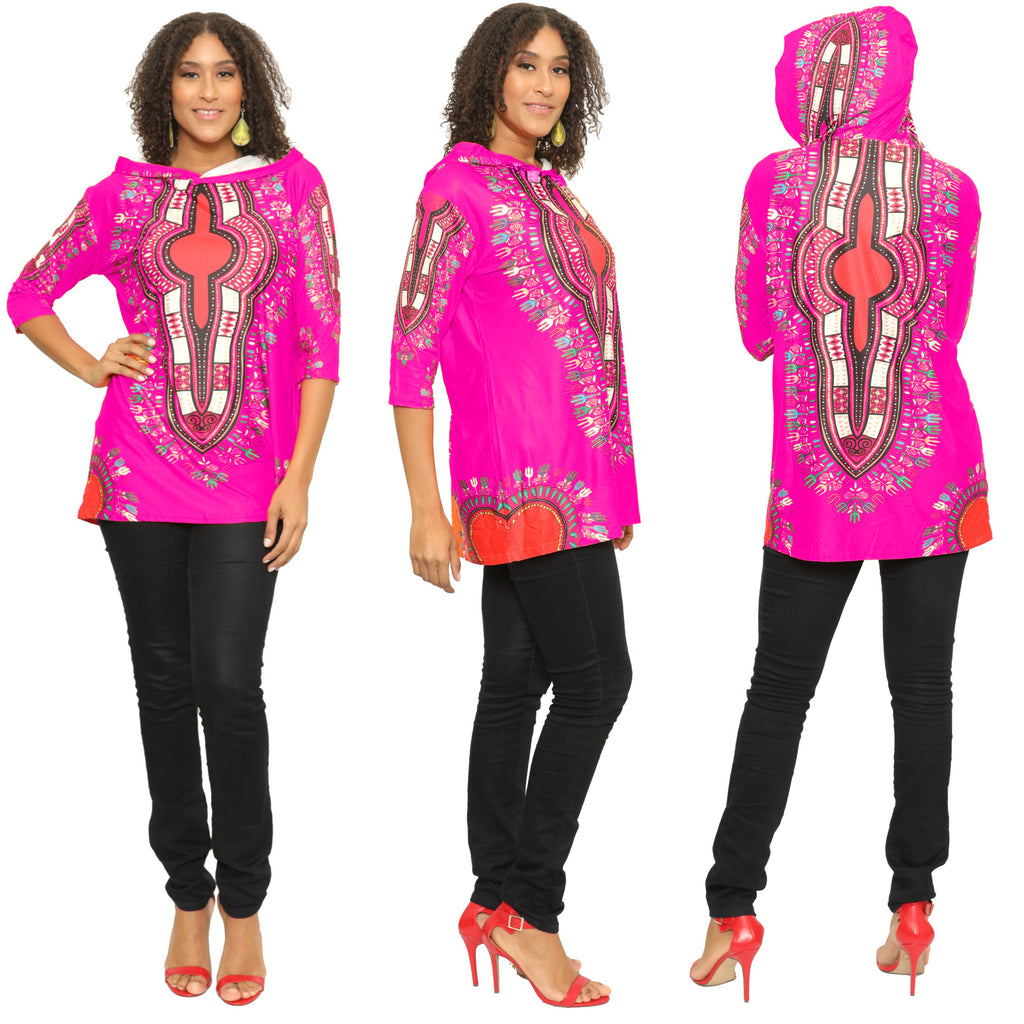 17029- Women's One Size Dashiki Tunic Top with Hood -One Size (6-PCS PRE-PACK)