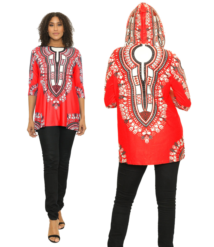 17030- Women's One Size Dashiki Tunic Top with Hood -One Size (6-PCS PRE-PACK)