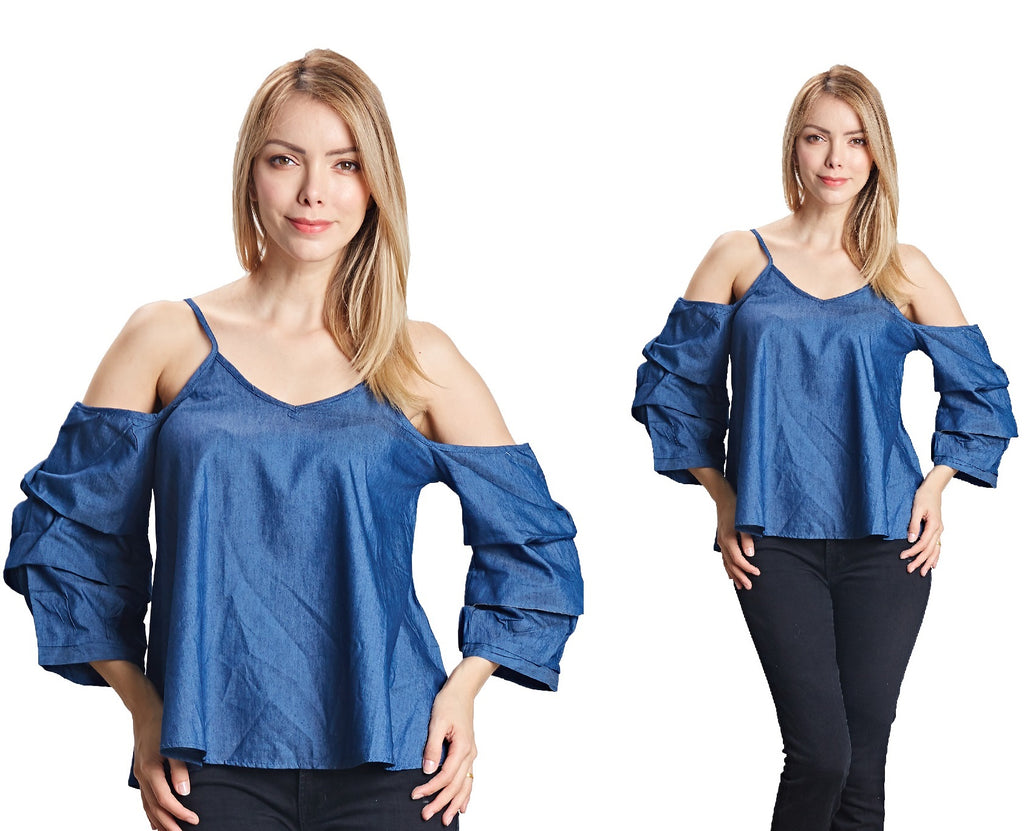 17063- 100% Cotton Cold-Shoulder Spaghetti Strap Denim Top (6-PCS PRE-PACK)