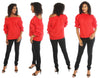 CHH-17068- 100% Cotton Off-the-Shoulder Top with Ruffled Sleeves  - One Size (12-PCS PRE-PACK)