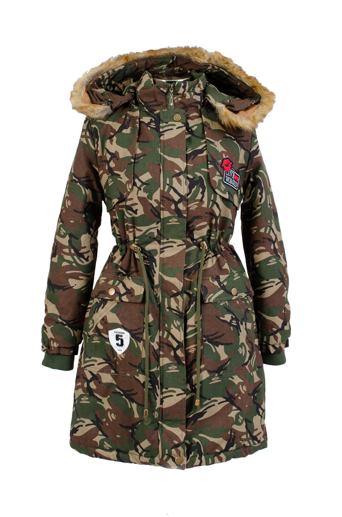 18009- Camouflage Print Long Winter Coat with Removable Hood (4-PCS PRE-PACK)