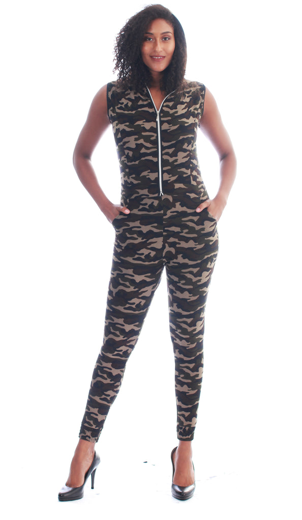 CHH-18015- Women's Camo Jumpsuit with Hoodie (6-PCS PRE-PACK) (SALE - $7 each)