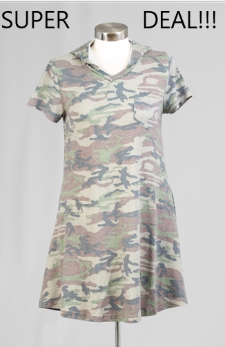 18021 -Faded Camo Short Dress with Hoody (6-PCS PRE-PACK) -ON SALE-$5 Each