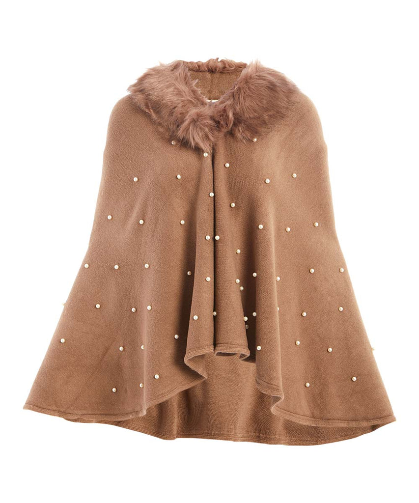 18022- Vintage-Inspired Cozy Winter Cape with Fuzzy Collar - Assorted Colors (6-PCS PRE-PACK)