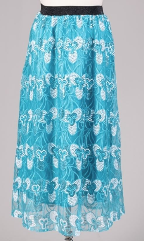 19014 - Aqua Blue Flower Print Sequin Skirt (3/pk) - Free Size and Plus Size - $20.00 Each