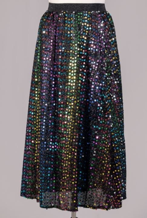 19015 - Elastic Waist Sequin Skirt (3/pk) - Free Size and Plus Size - $20.00 Each