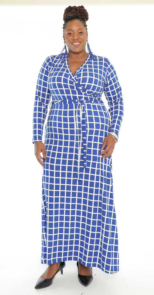 CHH-20014 - Women's Full Sleeve Checkered Dress - One Size (6-PCS PER-PACK)($20 Each)