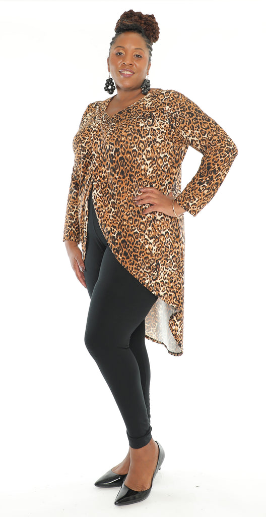 CHH-20031 - High Low Split Front Top - Full Sleeves (6-PCS PER-PACK - Leopard Print) ($15 Each )