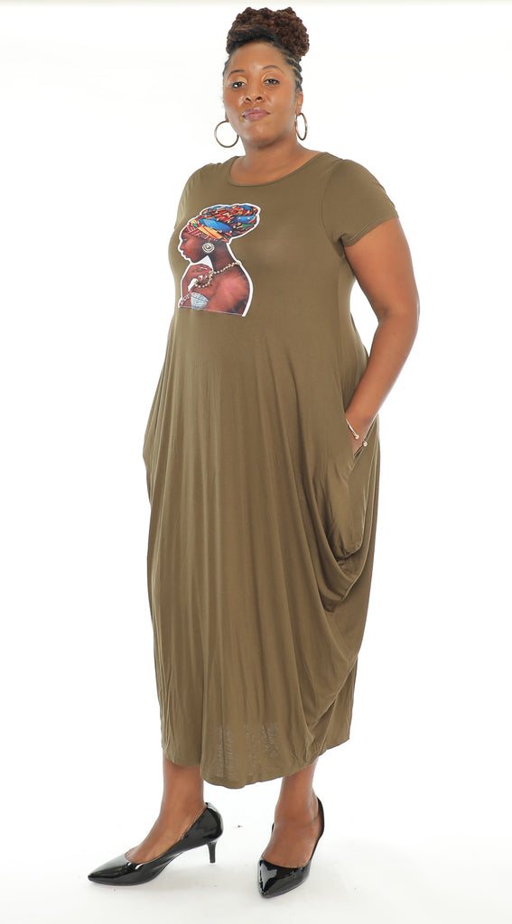 CHH-20034 - Short Sleeves Women's Maxi Balloon Dress With Face Motif - One Size (6-PCS PRE-PACK- 6 Assorted Colors) ($20.00 Each)