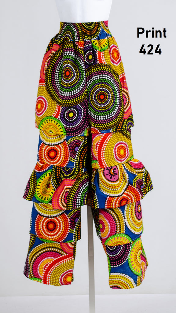 504 - Ankara Palazzo Pants with Ruffles (3 PCS PRE-PACK) - ON SALE - $18.00 Each