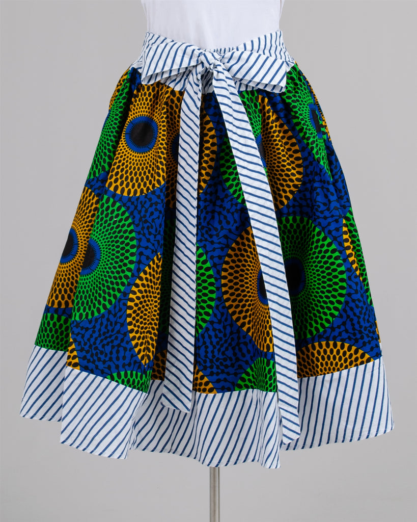 "518 - African Print Mid Length Skirt with Stripe Accents 28"" (3/pk) -ON SALE - $10.00 Each"