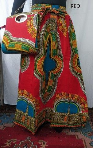 6777A - African & Dashiki Print Maxi Skirt & Bag Set - (3/pk) - Free Size - $35.00 Each