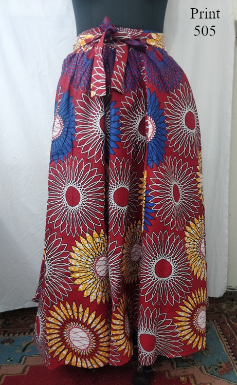 7001SK - 8 Panel African Print Skirt - Authentic African Wax (3-PCS PRE-PACK) - $25 Each