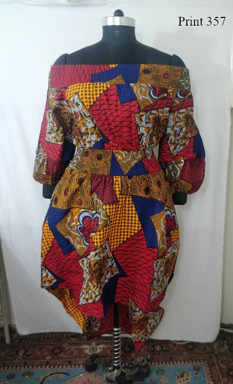 7285 - African Print High-low Off-shoulder Dress W/ Ruffled Bell Sleeves (3/Pk) - Free Size - $25.00 Each