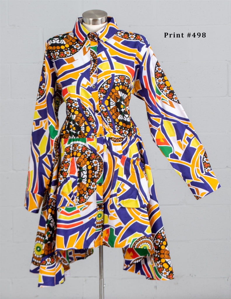 7509- African Print Button up Top with Ruffle (3/pk) Free Size - $20.00 Each