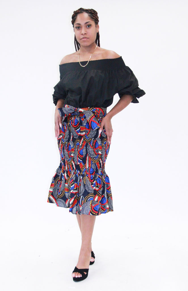 7532 - African Smocked Mid Length Skirt with Ruffle  (3/pk) - $20.00 Each