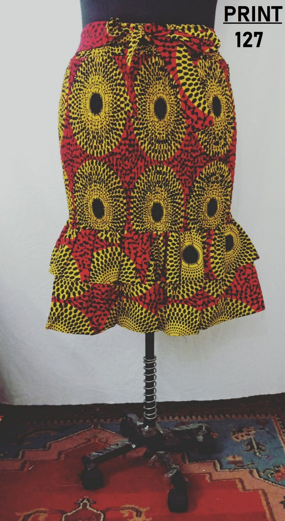 7544 - African Smocked Mid Length Skirt with Ruffle  (3/pk) - $20.00 Each