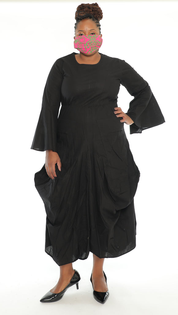 7561S - Solid Color Full Bell Sleeve Dress - $25.00 Each