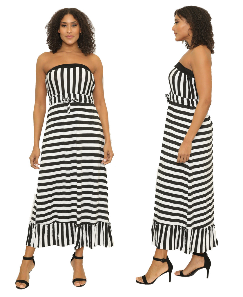 7899 - Women's Strapless Striped Maxi-Dress with Ruffled Hem - Assorted Colors (6-PCS PRE-PACK) ($8 Each)