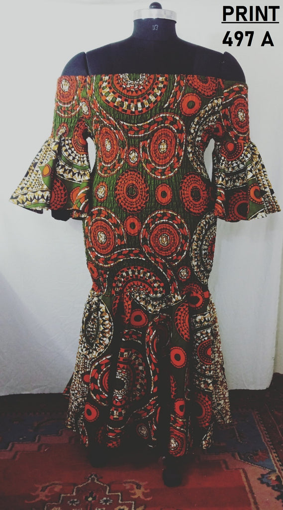 9008 - African Print Smocking Off-shoulder Dress (3/Pk) - Free Size - $30.00 Each