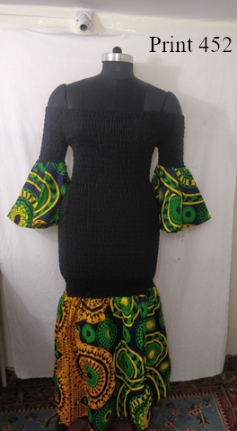 9025 - African Print Off Shoulder Mermaid Style Maxi Dress (3/pk) - Free Size - $28.00 Each
