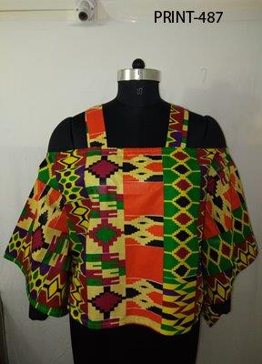 9037 - Cold-shoulder African Print Top (3/pk) - Free Size - $15.00 Each